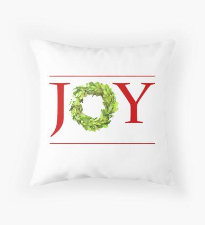 JOY Christmas Boxwood Wreath Throw Pillow
