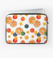 Bright holiday pattern with Oranges, Stars and Circles Laptop Sleeve