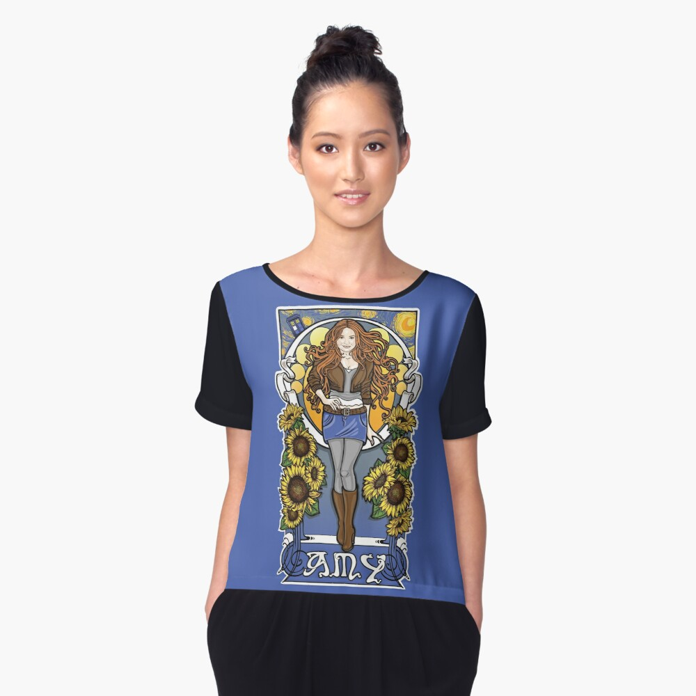 The Girl Who Waited (Amy under a Van Gogh sky) Women's Chiffon Top Front