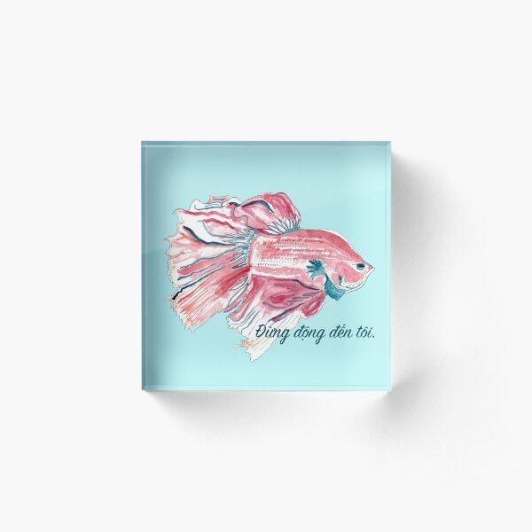 """Betta fish: """"Đừng động đến tôi."""" (Don't touch me.) Acrylic Block"""