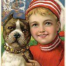 Vintage Boy & Pit Bull Dog by Beverlytazangel