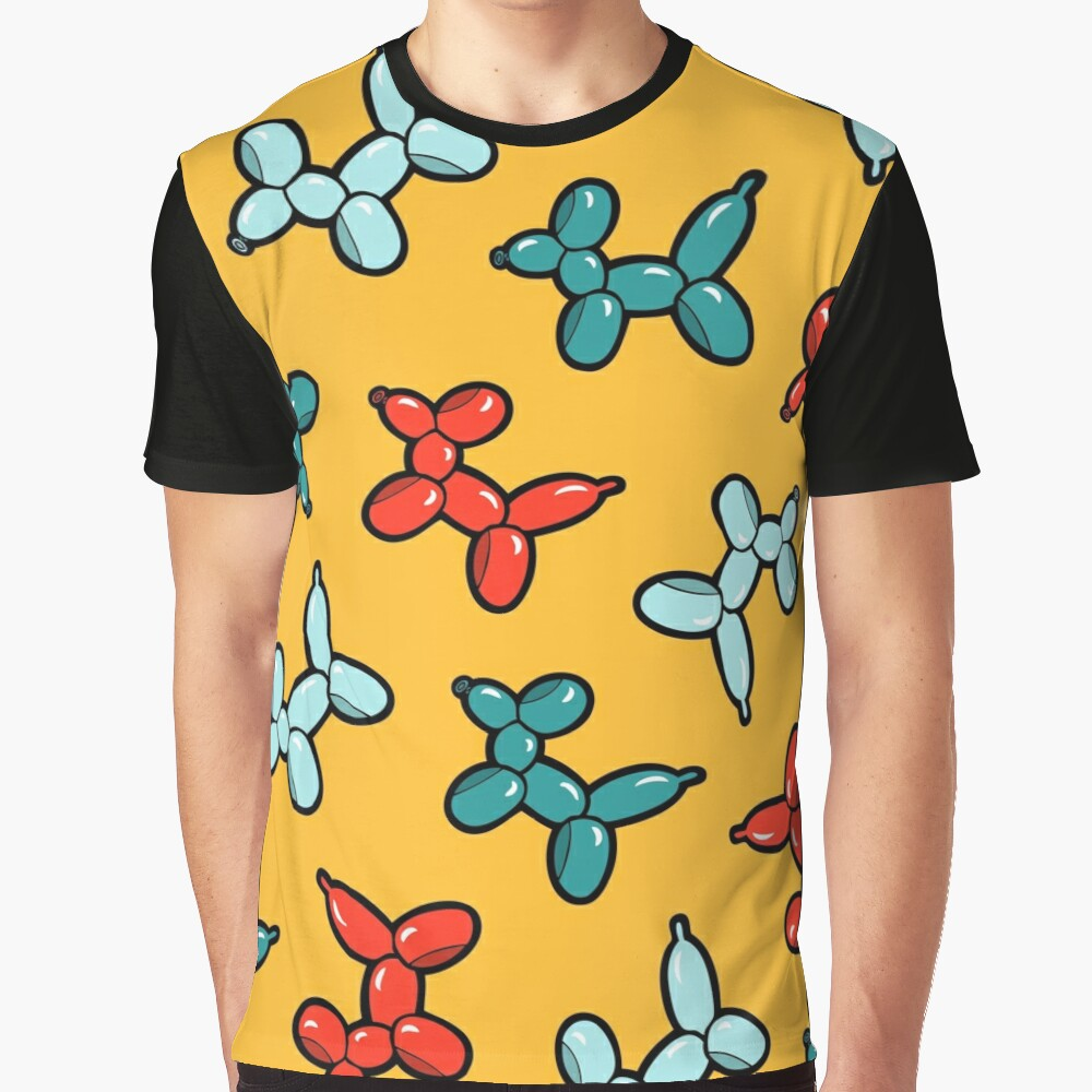 Balloon Animal Dogs Pattern in Yellow Graphic T-Shirt