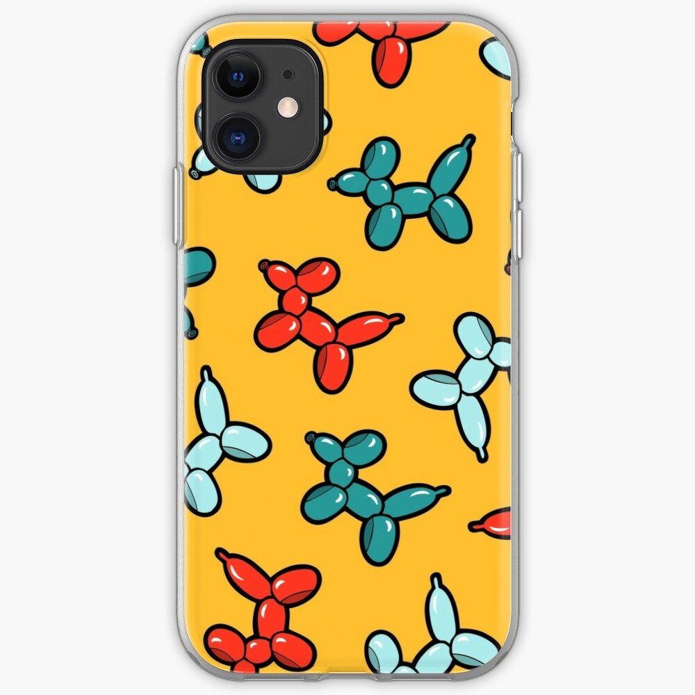 Balloon Animal Dogs Pattern in Yellow iPhone Soft Case