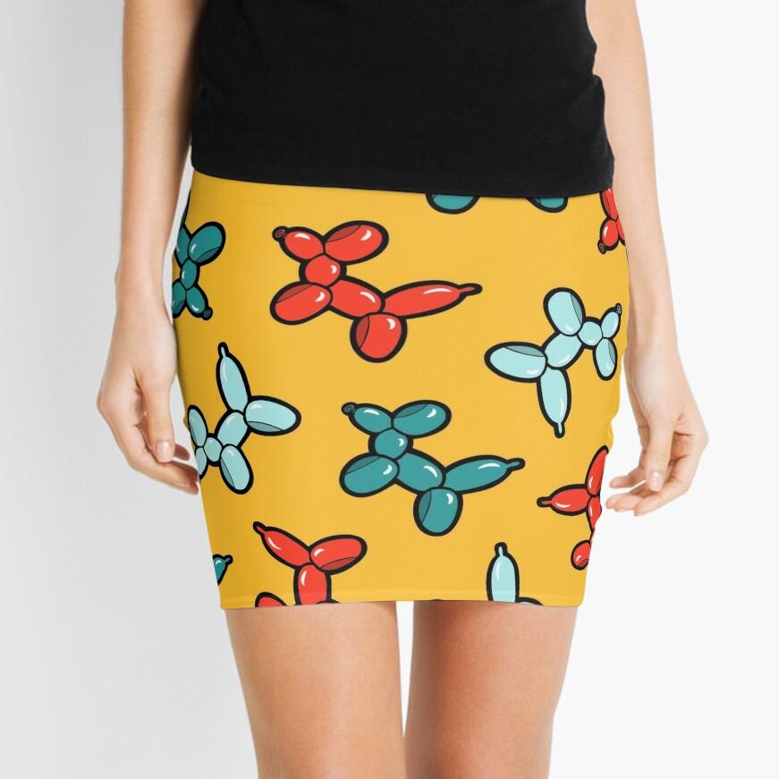 Balloon Animal Dogs Pattern in Yellow Mini Skirt