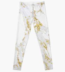 White Italian Carrara Marble Gold Glitter Sparkly Gray Glam Abstract Glam Gipsy  Leggings