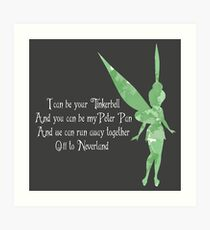 Tinkerbell quotes wall art redbubble i can be your tinkerbell quote watercolour art print voltagebd