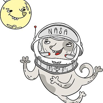 Space dog with the moon by vasilixa