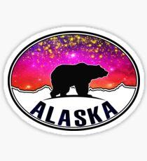 Alaska Northern Lights Bear Starry Night Mountains Sticker