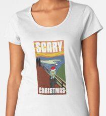 Funny Scary Christmas Munch Scream Santa Hat Gift Women's Premium T-Shirt