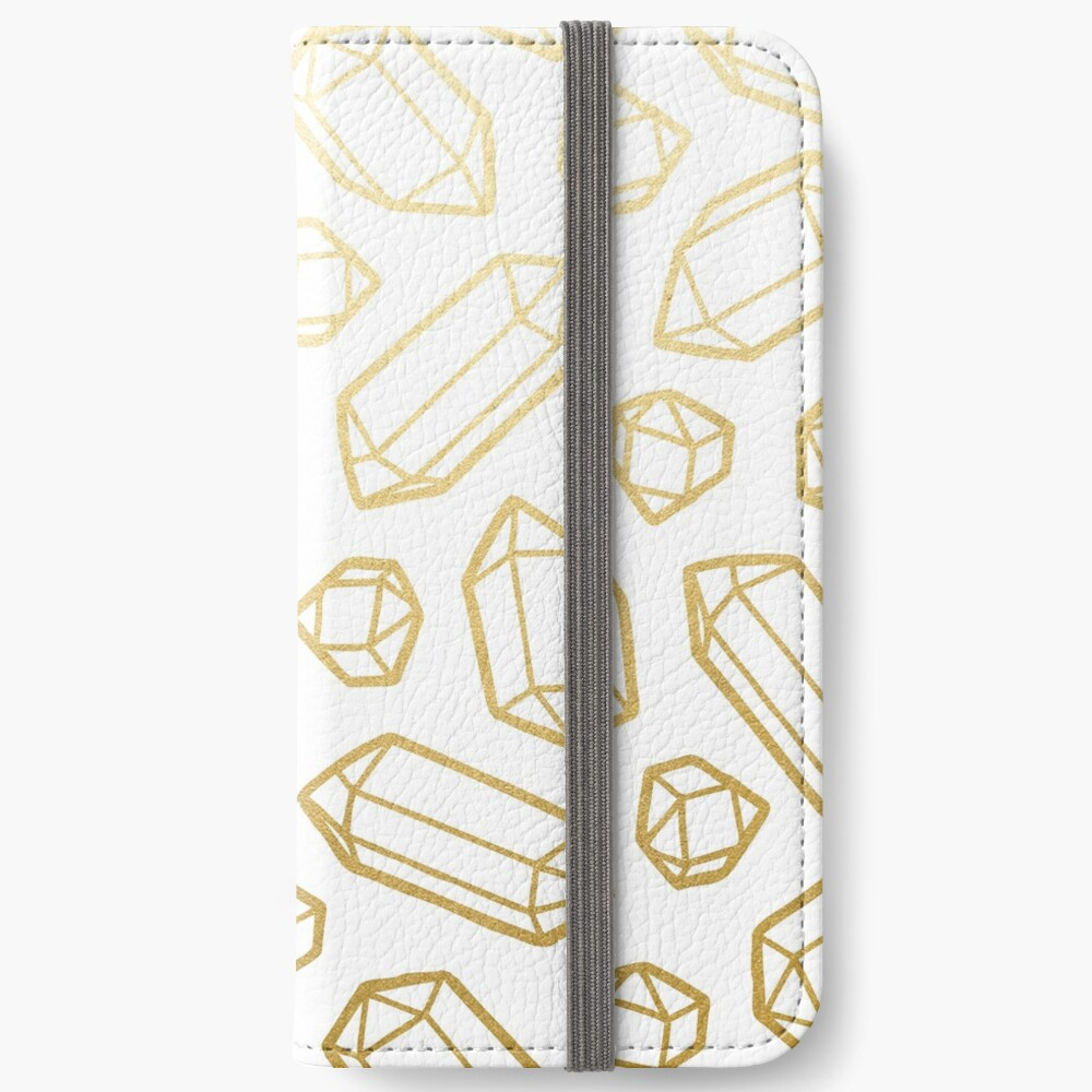 Gold and White Gemstone Pattern iPhone Wallet