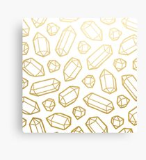 Gold and White Gemstone Pattern Canvas Print
