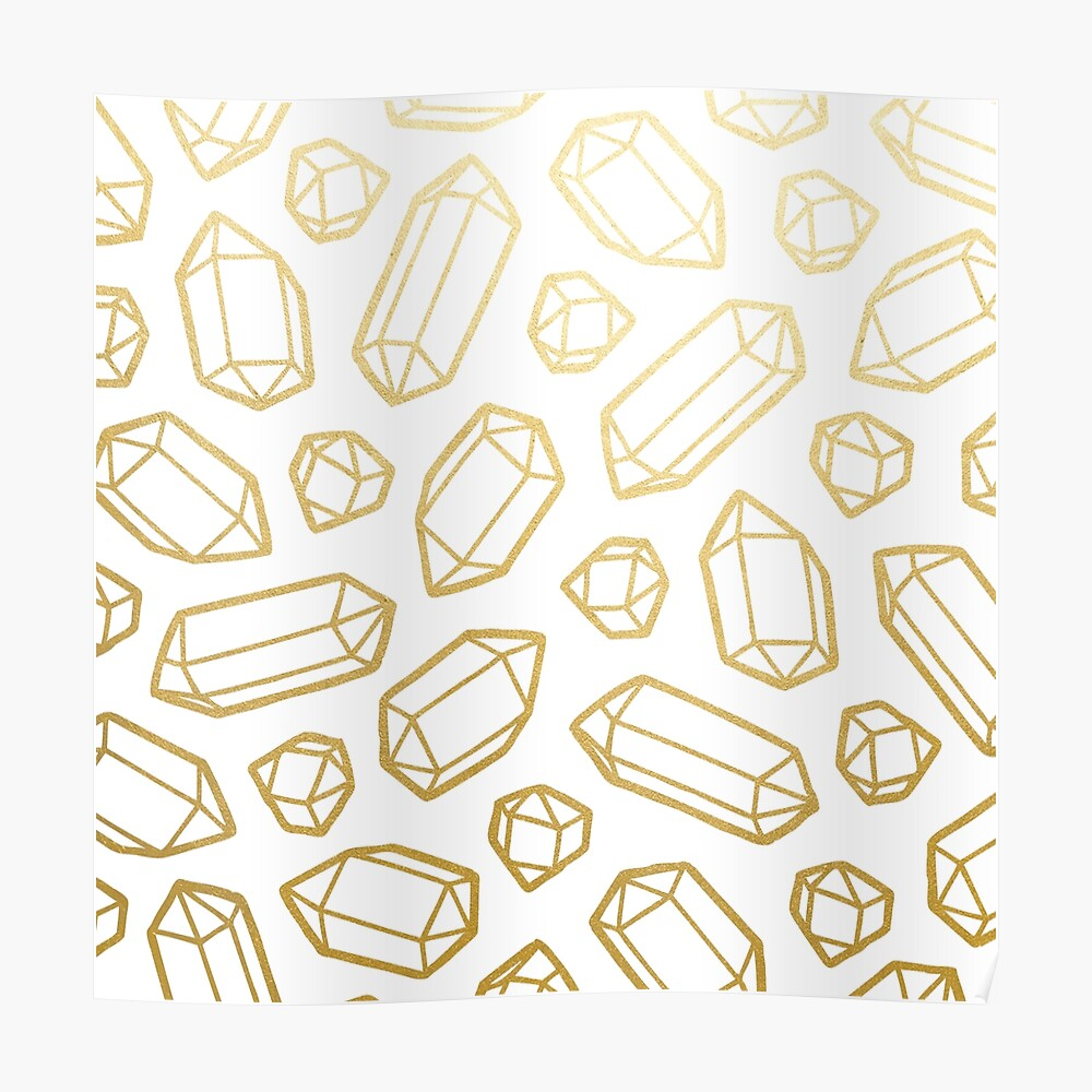 Gold and White Gemstone Pattern Poster