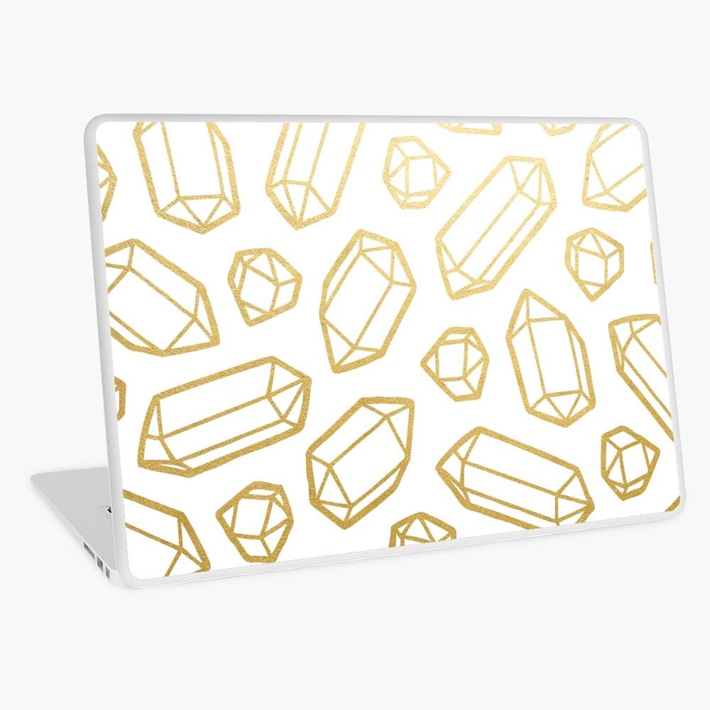 Gold and White Gemstone Pattern Laptop Skin