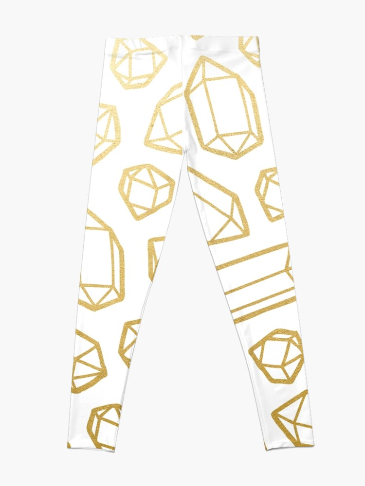 Alternate view of Gold and White Gemstone Pattern Leggings
