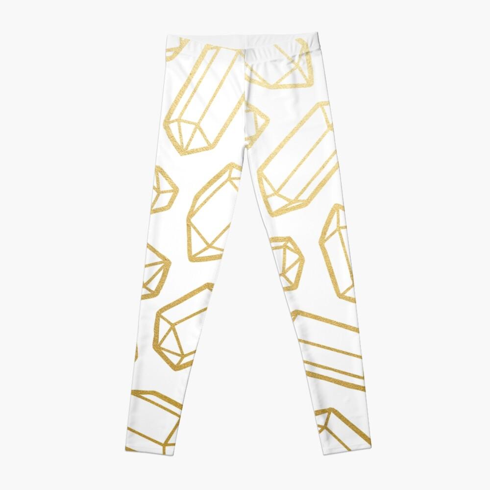 Gold and White Gemstone Pattern Leggings