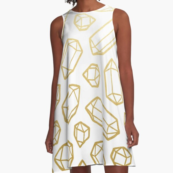Gold and White Gemstone Pattern A-Line Dress