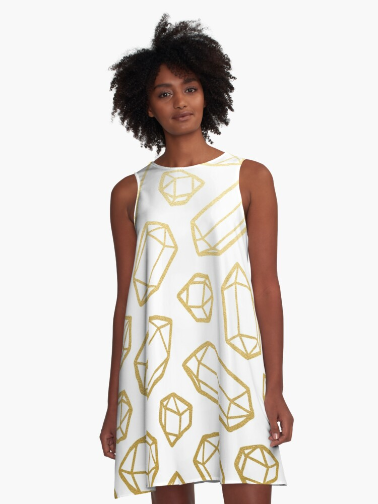 Gold and White Gemstone Pattern A-Line Dress Front