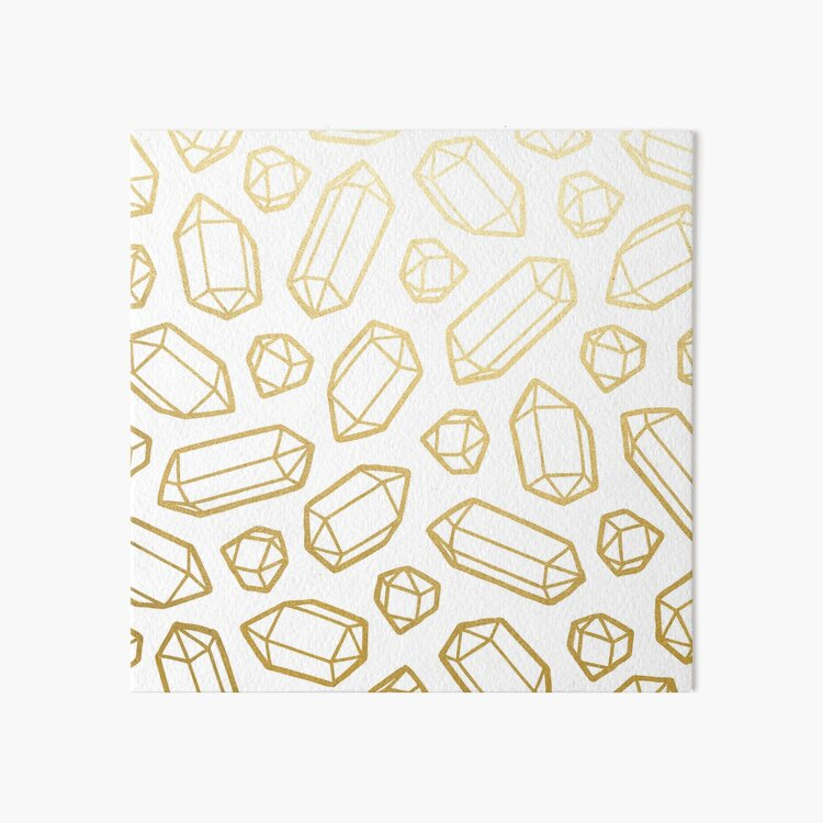 Gold and White Gemstone Pattern Art Board Print