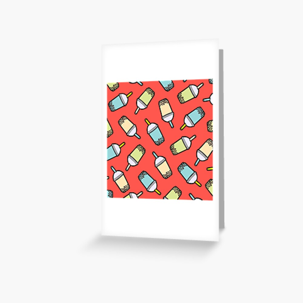 Bubble Tea Pattern in Red Greeting Card
