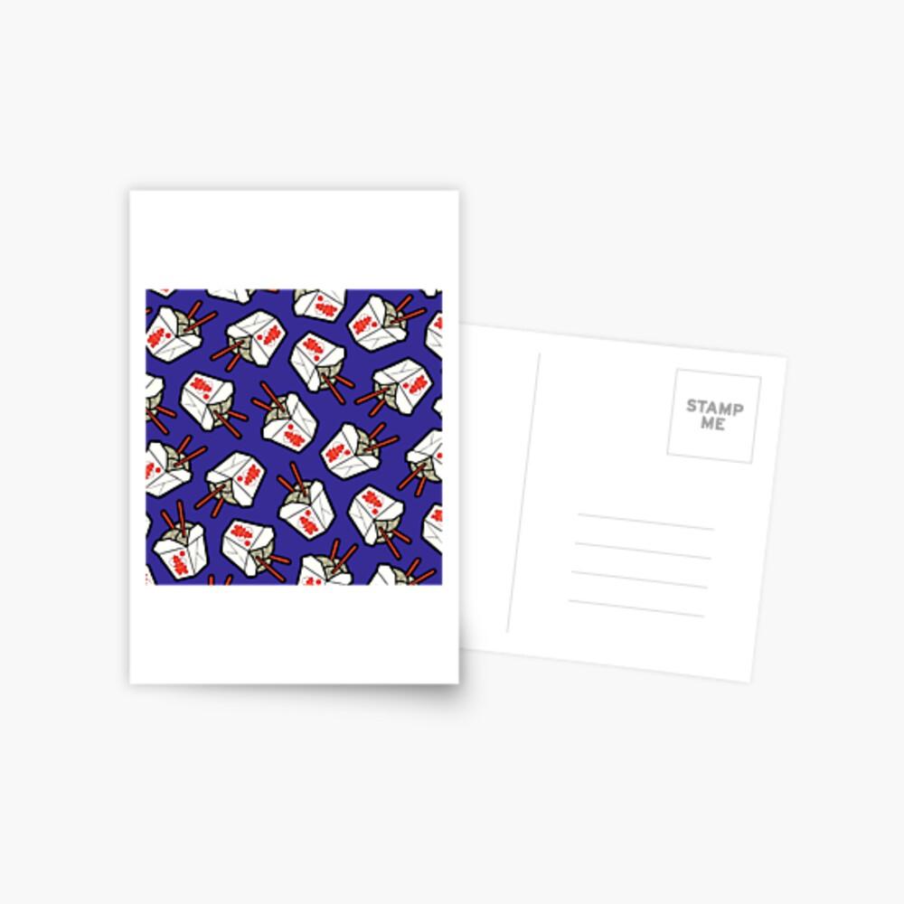 Take-Out Nudeln Box Muster Postkarte