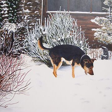 Winter snow scene with cute black and tan dog  by pollywolly