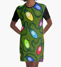 Chrismas Fairy Lights Pattern Graphic T-Shirt Dress
