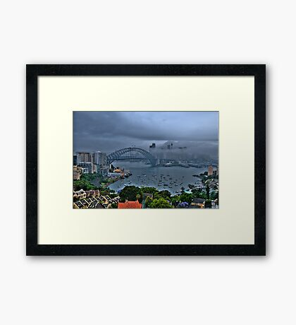 A Foggy Day In Sydney Town - Moods Of A City - The HDR Series Framed Print