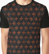 ROYAL1 BLACK MARBLE & REDDISH-BROWN LEATHER Graphic T-Shirt