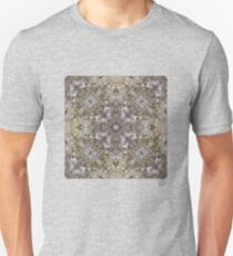 Tan, Gold. Olive, Red, Silver and Champagne Sparkle and Shiny Glitter with Silver Cross - 3D Macro Photo Pattern T-Shirt