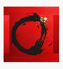 The Rings - Black on Red with Splash of Gold No. 1 Photographic Print