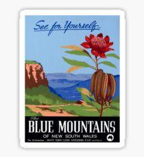 Pegatina Cartel azul restaurado de las montañas azules de Australia