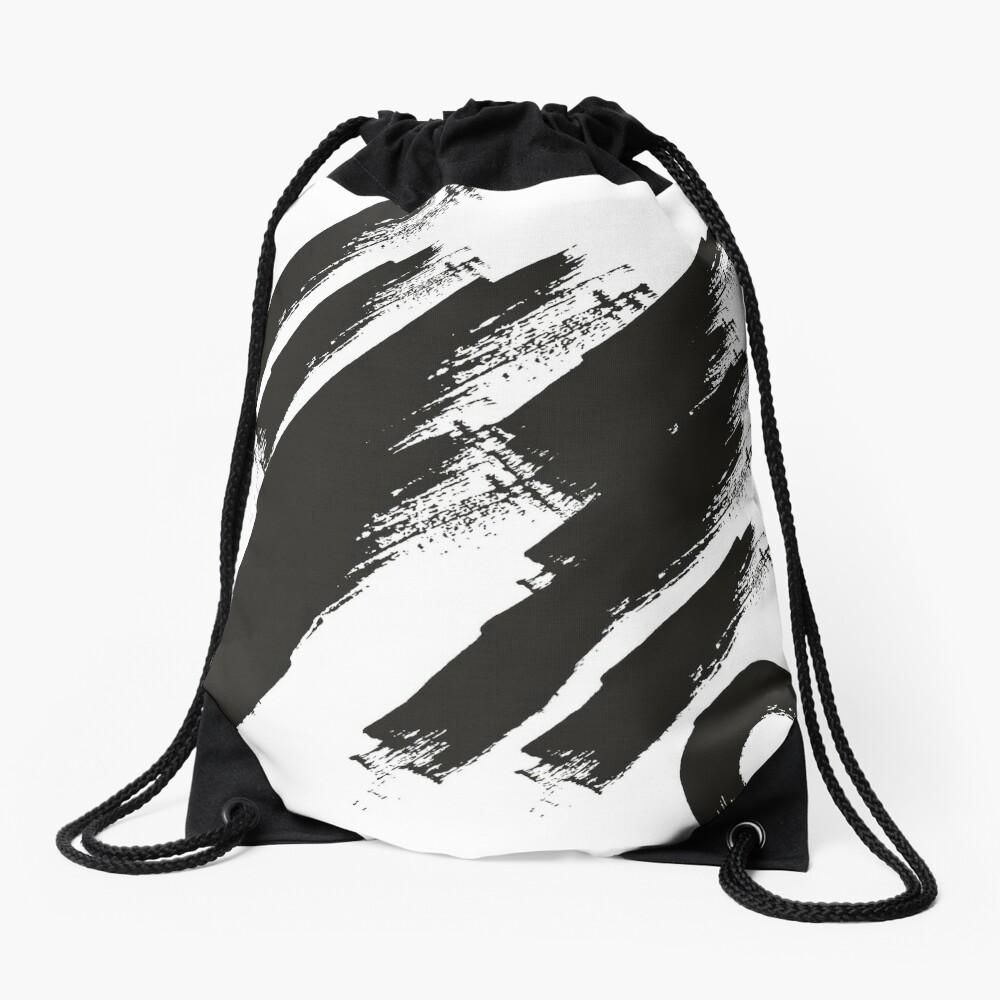 abstract brushstroke  Drawstring Bag Front