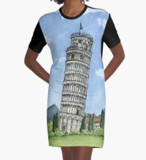 The Leaning Tower of Pisa Graphic T-Shirt Dress