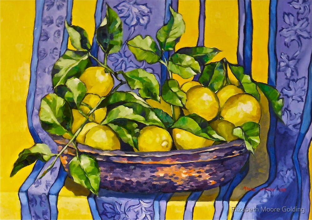 'Provence lemons in a copper bowl'. Oil on canvas.  by Elizabeth Moore Golding