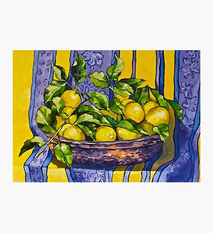'Provence lemons in a copper bowl'. Oil on canvas.  Photographic Print
