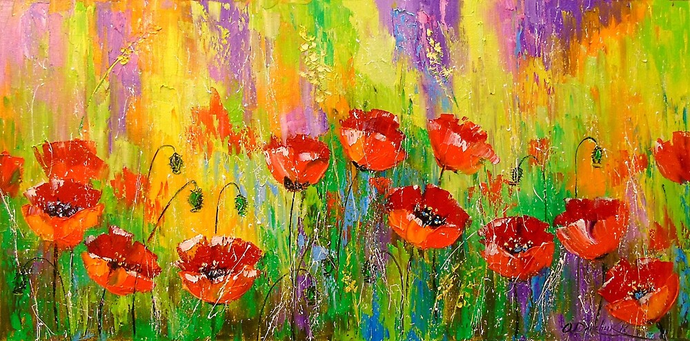 Poppies in a field by Olyha