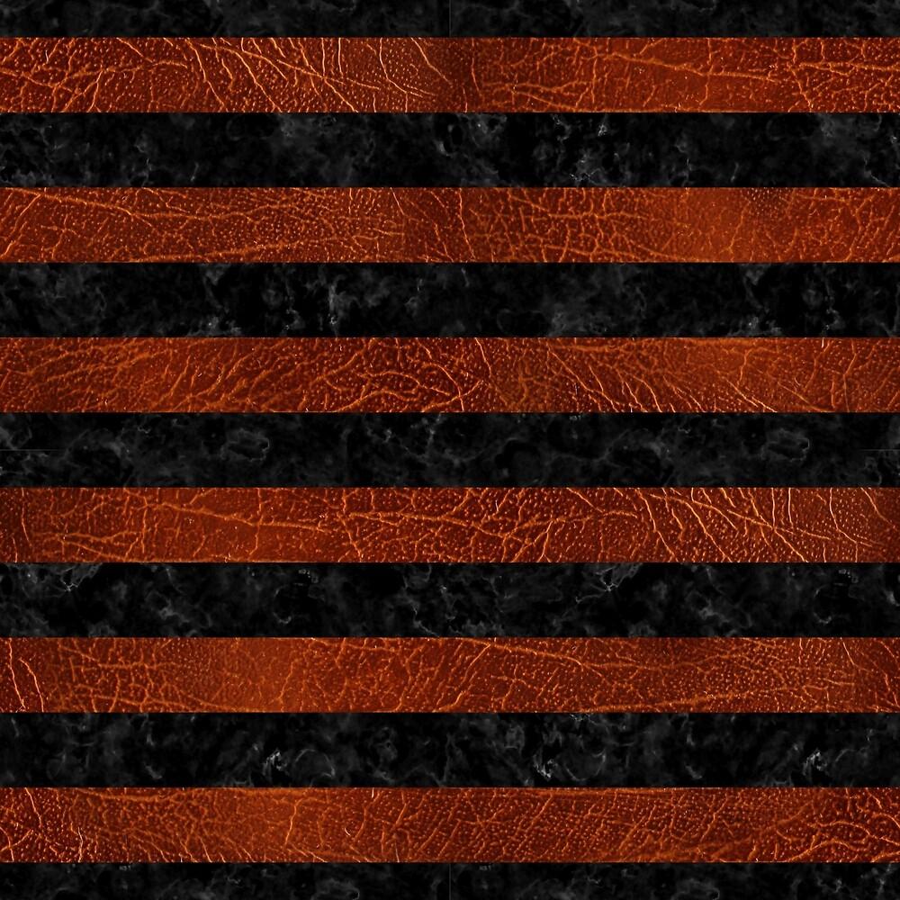 STRIPES2 BLACK MARBLE & REDDISH-BROWN LEATHER by johnhunternance