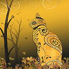 Henna Cat in Autumn Leaves by Lesley Smitheringale