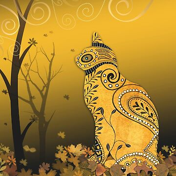 Henna Cat in Autumn Leaves by naturespaintbox