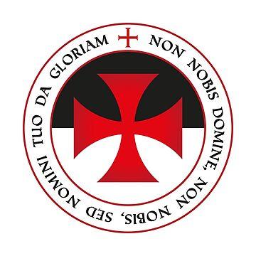 The Knights Templar Cross Christian Crusader Seal Motto Tee by stearman