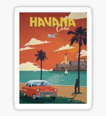 Havana Cuba Retro Poster  Sticker