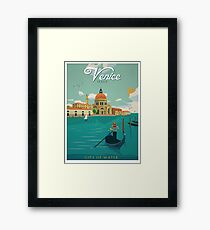 Venice Italy City of Water Retro Poster  Framed Print