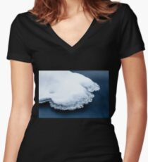 Ice, snow and moving water Women's Fitted V-Neck T-Shirt