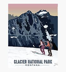 Glacier National Park - Cross Country Skiers Photographic Print