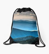 The Far Blue Smoky Mountains Drawstring Bag
