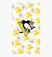 Pittsburgh Penguins Logo with a Floral Background Photographic Print