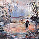 Country Walk On Icy Winter Day - Art Cards Prints & Gifts by Ballet Dance-Artist