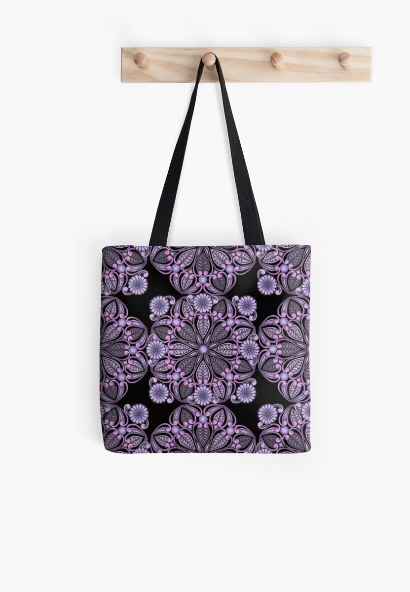 Flowers and Pearls Mandala - Purple (Multi Motif) by CLAldridgeArt