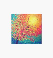 Pretty Rose Sunset with Birds Art Board