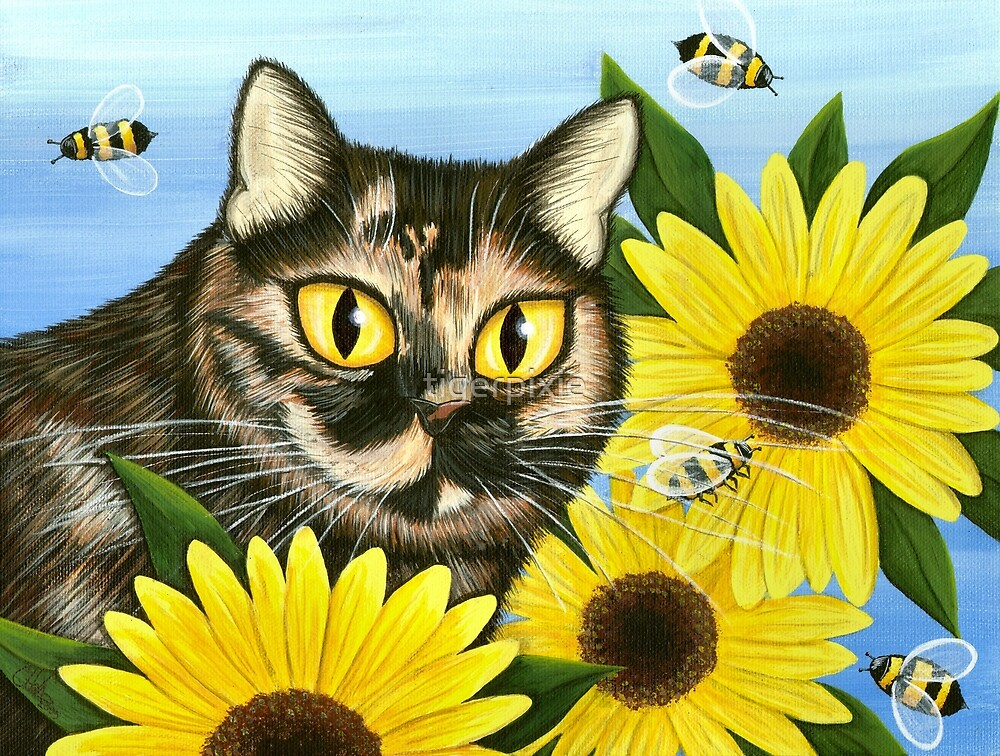 Hannah Tortoiseshell Cat Sunflowers by tigerpixie